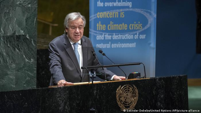 In this photo provided by the United Nations, U.N. Secretary General Antonio Guterres speaks in the General Assembly in observance of the International Day of Peace, celebrating 75 Years of the United Nations, at UN headquarters, Monday, Sept. 21, 2020.