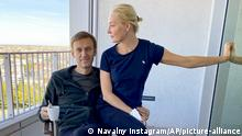 """In this photo published by Russian opposition leader Alexei Navalny on his Instagram account on Monday, Sept. 21, 2020, Russian opposition leader Alexei Navalny and his wife Yulia pose for a photo in a hospital in Berlin. Navalny on Monday demanded that Russia returned clothes he was wearing on the day he fell into a coma, calling it a """"crucial piece of evidence"""" of a suspected nerve agent poisoning he is being treated for at the German hospital. (Navalny Instagram via AP) 