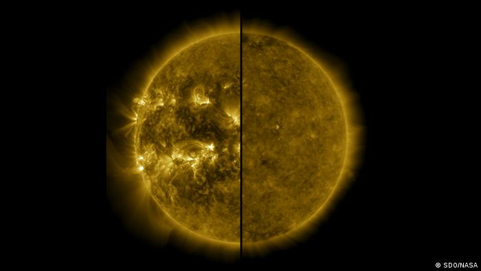 Split image of the sun showing the difference in activity between a period of minimum activity and maximum activity (SDO/NASA)