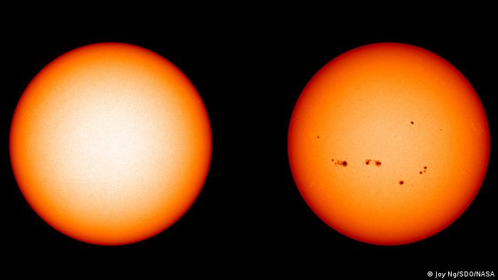Two images of the sun, with black sunspots emerging on the surface of the right-hand image, indicating increased solar activity (Joy Ng/SDO/NASA)