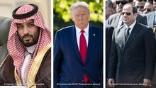 Bildkombo Donald Trump, Mohammed bin Salman and Abdel Fattah al-Sisi