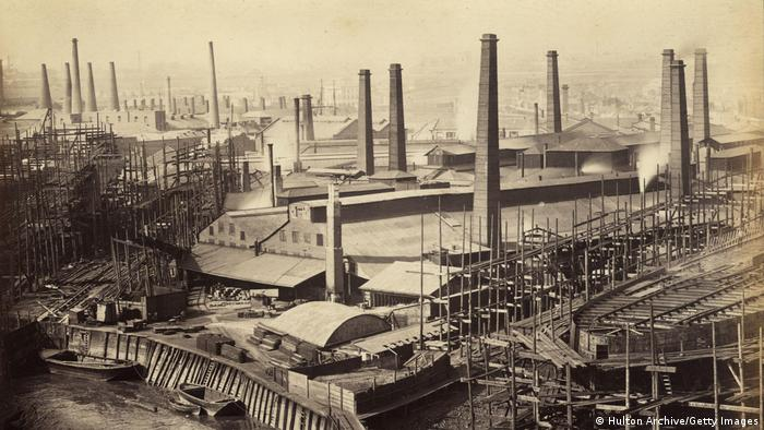 A factory at the near the docks in Canning town, London