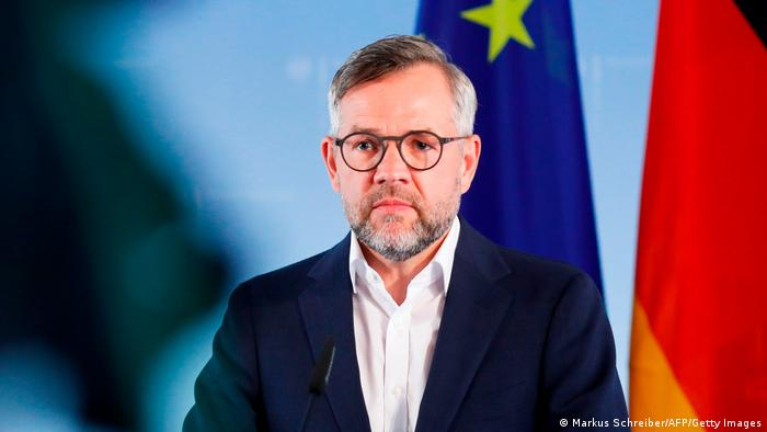 Minister of State for Europe at the German Federal Foreign Office Michael Roth gives a press statement at the foreign ministry in Berlin (Markus Schreiber/AFP/Getty Images)