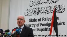 Ramallah, West Bank I Palästinensischer Außenminister Riad al Maliki