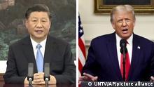 Bildkombo | 75. Sitzung UN-Generalversammlung | Rede Xi und Trump