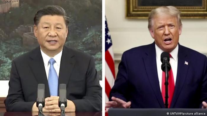 Bildkombo | 75. Sitzung UN-Generalversammlung | Rede Xi und Trump (UNTV/AP/picture alliance)