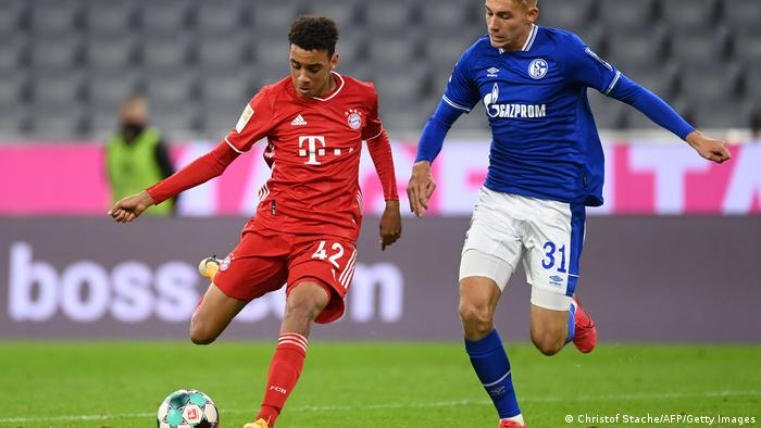 Jamal Musiala in action for Bayern Munich against Schalke
