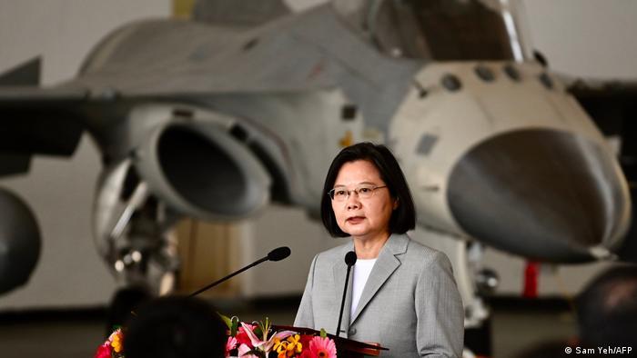 President Tsai Ing-wen speaks infront of a fighter jet