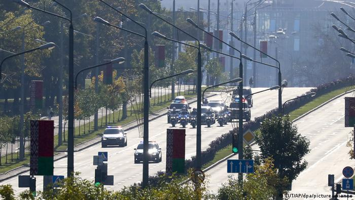 Alexander Lukashenko's motorcade heads to the inauguration ceremony on Wednesday in Minsk.
