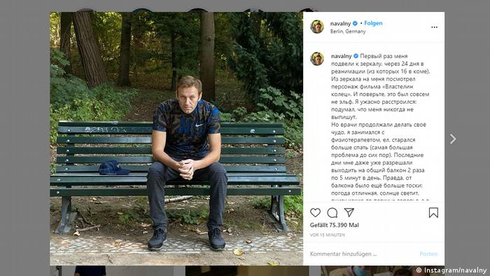 An Instagram post shared by Alexei Navalny shows him on a park bench after his release from a Berlin hospital