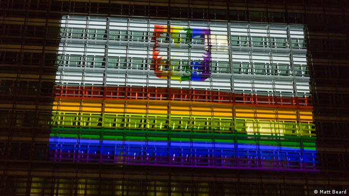 LGBT+ human rights activists project a rainbow on the European Commission in Brussels