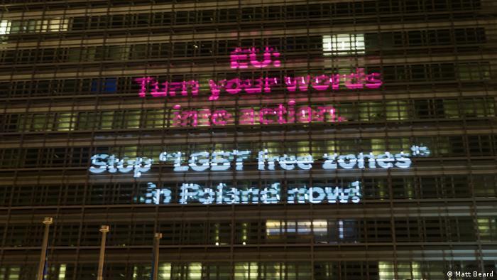 Belgien Brüssel | Protestaktion | LGBT freie Zonen in Polen