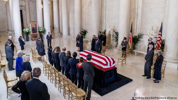 The flag-draped casket of Justice Ruth Bader Ginsburg