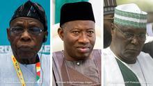 Kombobild Olusegun Obasanjo, Goodluck Jonathan und Atiku Abubakar