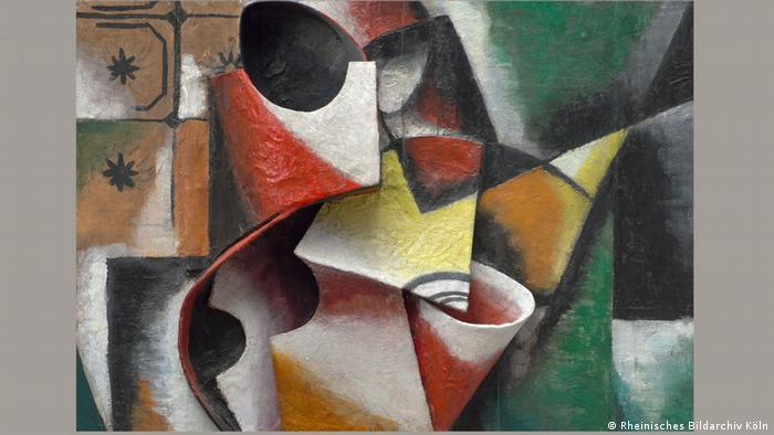 A colorful detail from Lyubov Popova's Portrait of a Woman (Rheinisches Bildarchiv Köln)