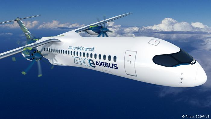 A computer simulation of Airbus's turboprop concept aircraft