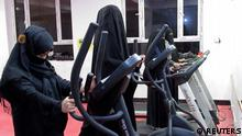 Afghan women exercise in a fitness gym in Kandahar (REUTERS)