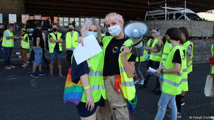 Young LGBT+ human rights activists demonstrating in Poland in 2020