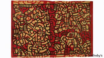 A work by the artist on colorful fabric. Keith Haring Sotheby's-Auktion in New York (Sotheby's)
