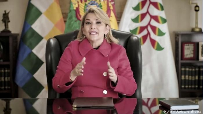 Interim Bolivian President Jeanine Anez Chavez delivers video message to UN General Assembly