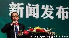 06.05.2013, China, Peking: --FILE--Zhong Shanshan, Chairman of Nongfu Spring Co., Ltd., delivers a speech at a press conference in Beijing, China, May 6, 2013. Shares of Chinese bottled water giant Nongfu Spring surged more than 85% in their debut on the Hong Kong stock market. The stock opened at 39.80 Hong Kong dollars per share ($5.14), more than 85% higher than its initial public offering price of 21.50 Hong Kong dollars ($2.77). *** Local Caption *** fachaoshi Foto: Jiang Xin/HPIC/dpa |