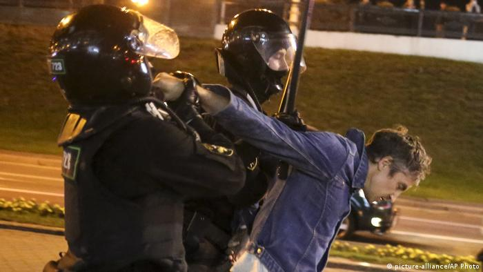Арест учатника протестов в Минске