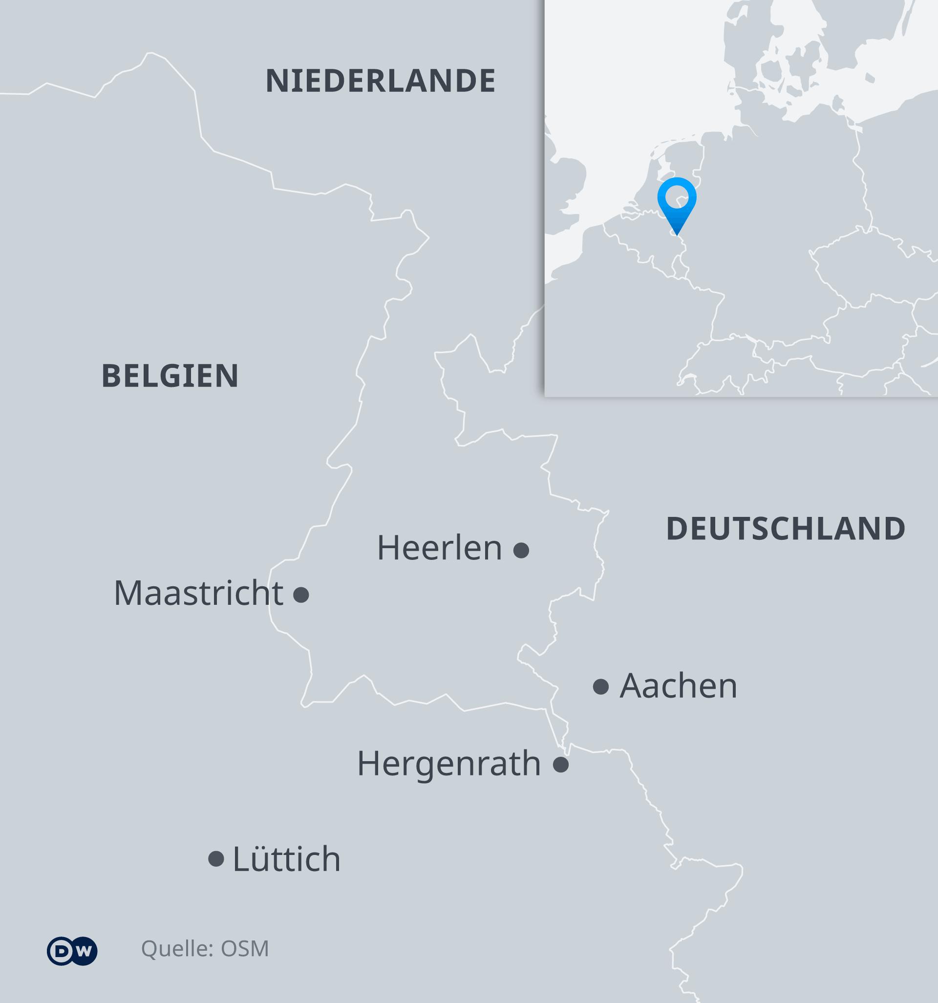 Karte - Ländereck Deutschland, Niederlande, Belgien - DE