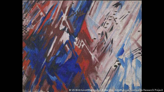 The red, white and blue abstract work by Mikhail Larionov, Rayonism Red and Blue (Beach). (VG Bild-Kunst/Rheinisches Bildarchiv, Köln/Russian Avantgarde Research Project)