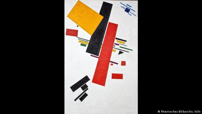 Kasimir Malewitsch's oil painting Suprematism No. 38: colorful rectangular and lineal figures with a single triangle (Rheinisches Bildarchiv, Köln)
