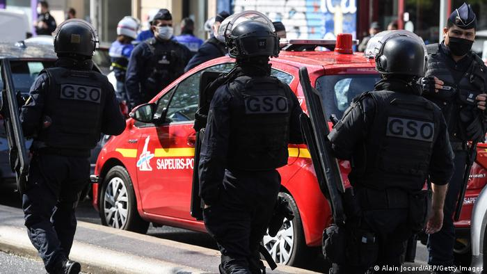 French police intervention unit (GSO) officers arrive at the scene