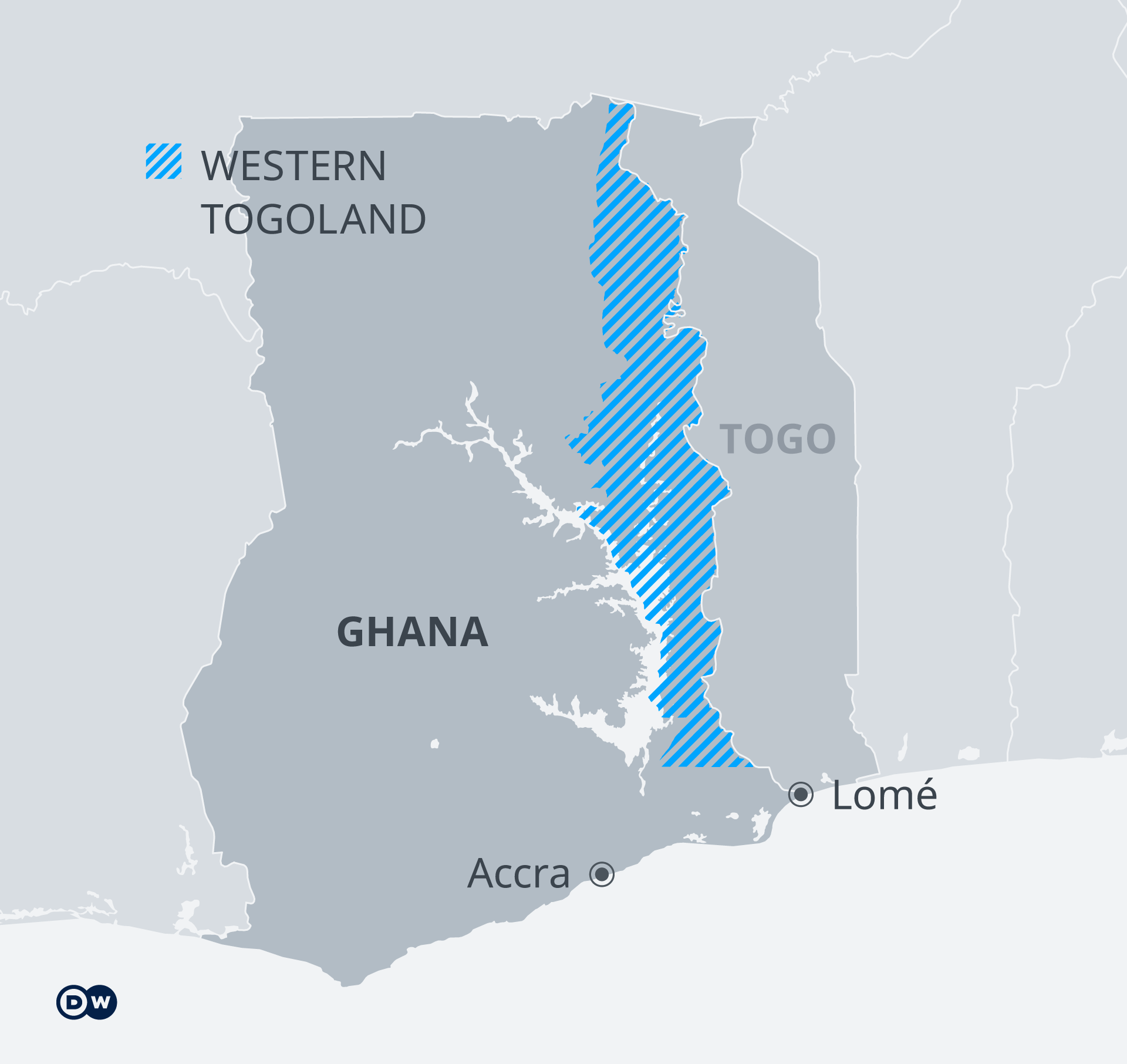 Map of the territory of Western Togoland