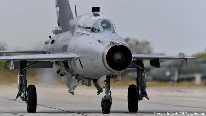 A Serbian Mig-21 prepares for takeoff near Belgrade (Andrej Isakovic/AFP/Getty Images)
