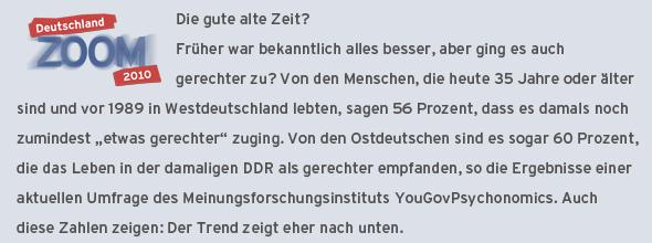 Deutschland Zoom 2010 Infokasten zu einer Umfrage, wie die Deutschen Gerechtigkeit vor der Wende empfanden (Grafik: DW)