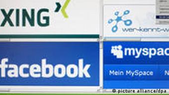 Logos der sozialen Internet-Netzwerke Xing, Wer-kennt-wen, Facebook, MySpace und Lokalisten (Foto: dpa)