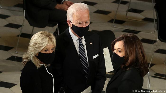 Joe Biden, Jill Biden, and Kamala Harris at the ceremony dedicated to Ruth Bader Ginsburg (Chip Somodevilla/Reuters)