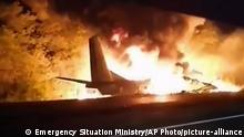 A Ukrainian military aircraft crashes as it attempts to land in the town of Chuhuiv