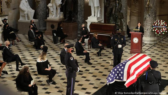 Ceremony for Ruth Bader Ginsburg in the US Capitol