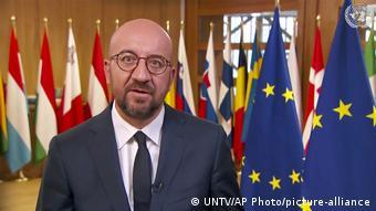 Председатель Европейского совета Шарль Мишель выступает удаленно на сессии Генассамблеи ООН 26 сентября