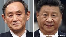Bildkombo Japan | Premier Yoshihide Suga | China Präsident Xi Jinping