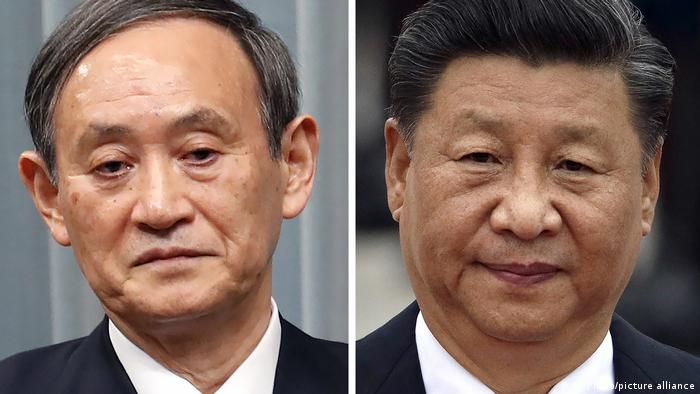 Bildkombo Japan | Premier Yoshihide Suga | China Präsident Xi Jinping (AP Photo/picture alliance)