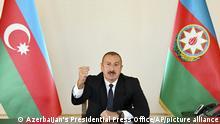 Aserbaidschan Baku | Präsident Ilham Alijew zu Militärkonflikt in Berg-Karabach