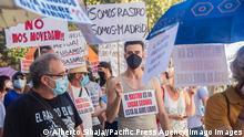 Spanien Madrid | Protest für die Wiedereröffnung des Flohmarkt El Rastro