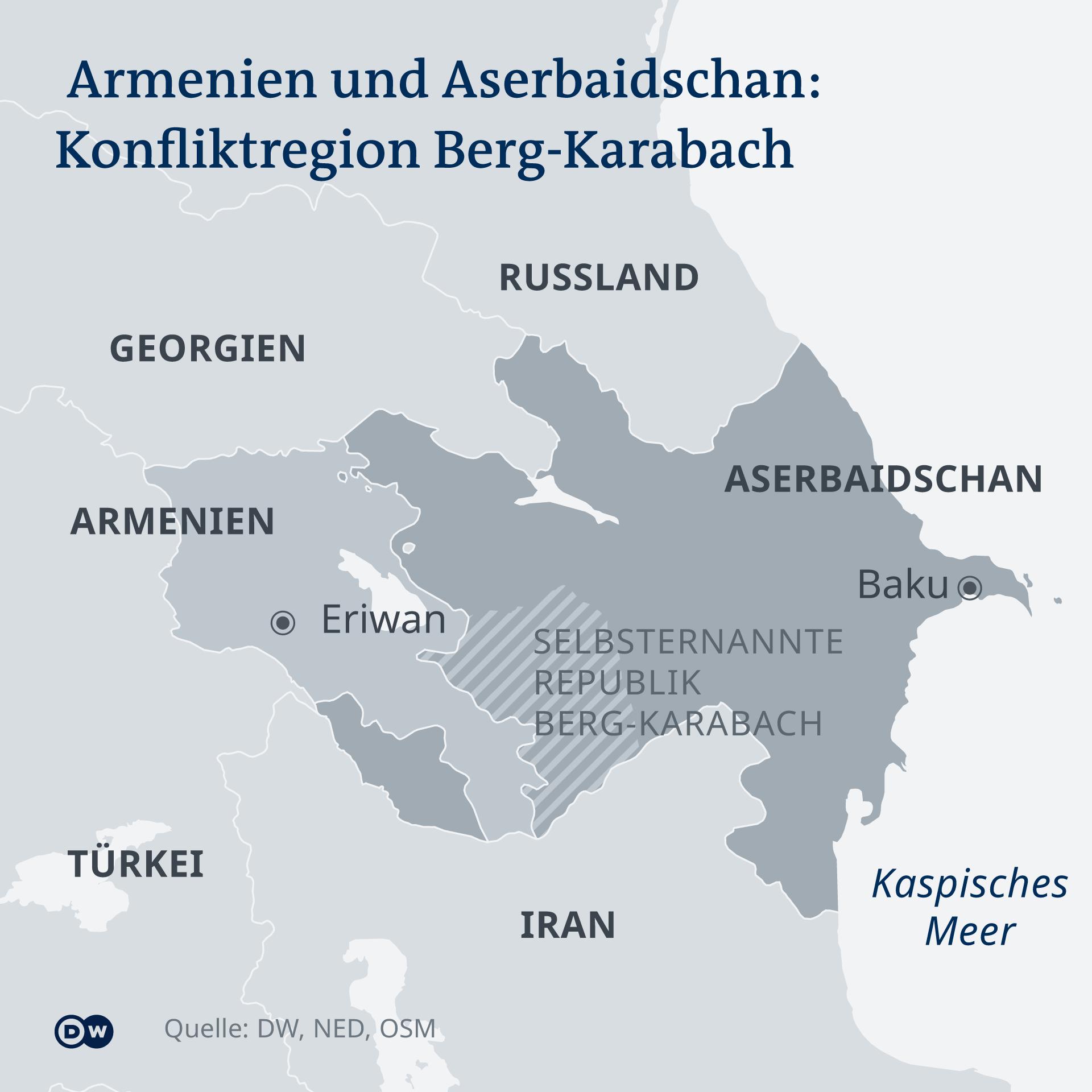 Zemljopisna karta sa spornom regijom Nagorno-Karabah