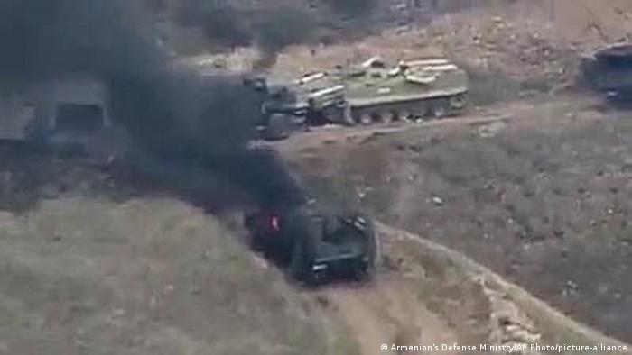 Бойові дії в Нагірному Карабасі (скріншот з відео міністерства оборони Вірменії)