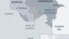 Karte Armenien Aserbaidschan Berg-Karabach EN