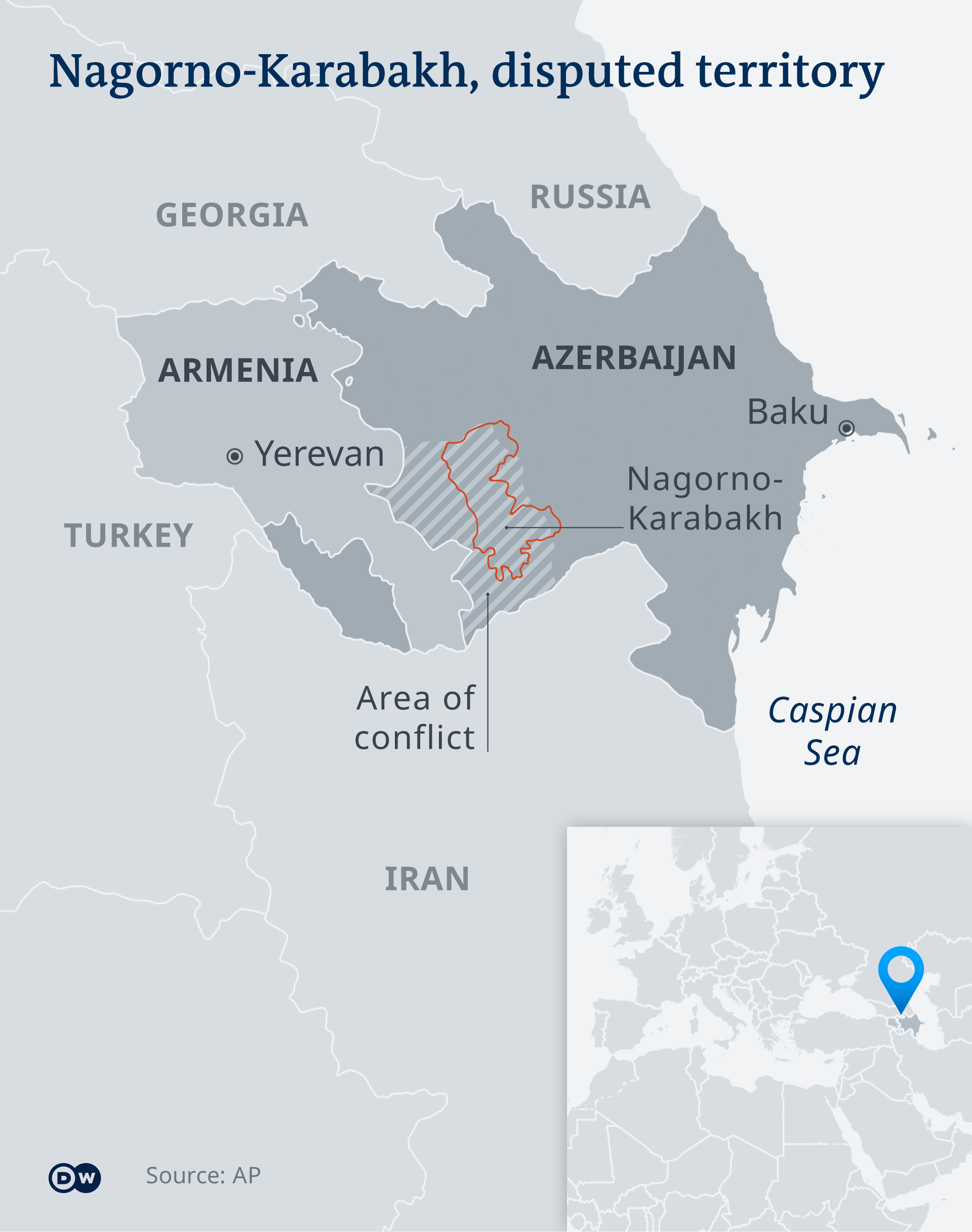Map showing the location of the disputed region of Nagorno-Karabakh EN