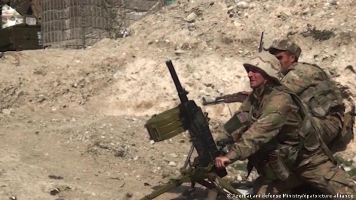 Soldiers from Azerbaijan fighting in Nagorno-Karabakh