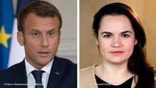 Kombobild | Emmanuel Macron und Svetlana Tikhanovskaya