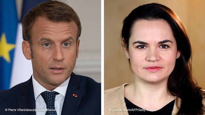 Коллаж: президент Франции Эмманюэль Макрон и бывший кандидат в президенты Беларуси Светлана Тихановская