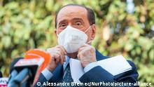 Silvio Berlusconi press conference after his hospital discharge from San Raffaele Hospital in Milan where the Italian ex prime minister has been hospitalised after testing positive for the Coronavirus (Covid-19) on September 14, 2020 in Milan, Italy (Photo by Alessandro Bremec/NurPhoto) | Keine Weitergabe an Wiederverkäufer.